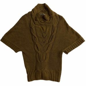 Anthropologie Guinevere brown cable knit sweater